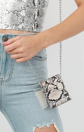 Stone Snake Print Cylindrical Shoulder Bag - Freya