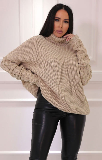 Stone Turtleneck Cable Knit Sleeve Jumper - Katie