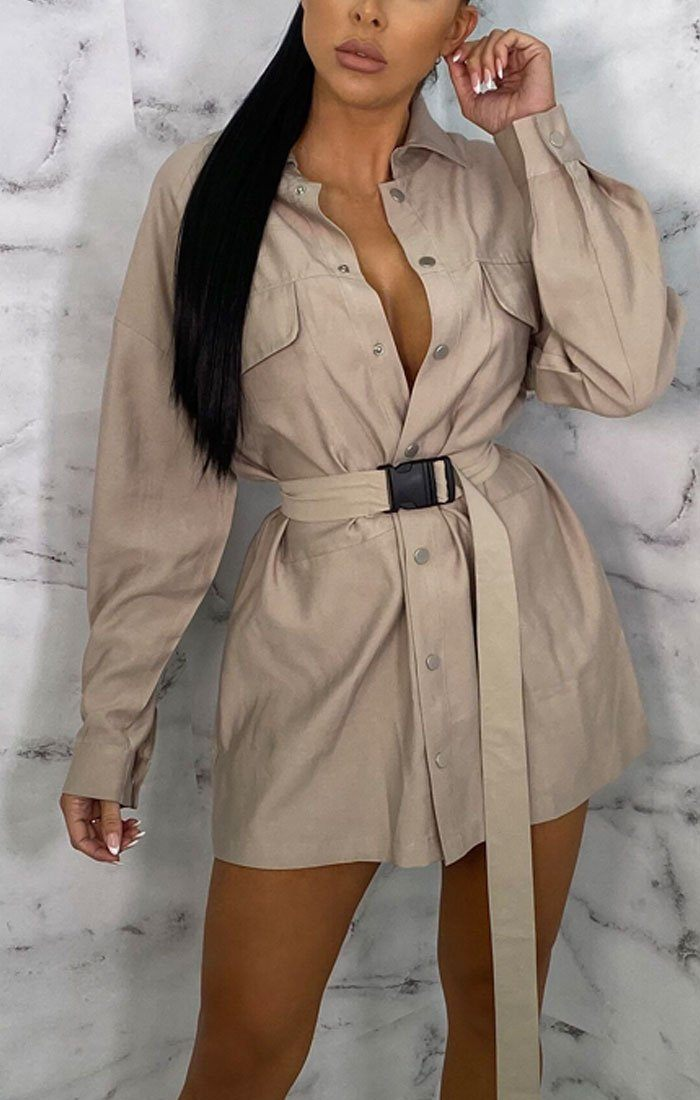 Stone Utility Seatbelt Mini Shirt Dress - Reggie