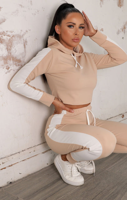 Stone With White Stripe Lounge Wear Set - Lexi