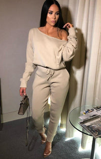 Stone Fine Knit Off The Shoulder Loungewear - Zoe