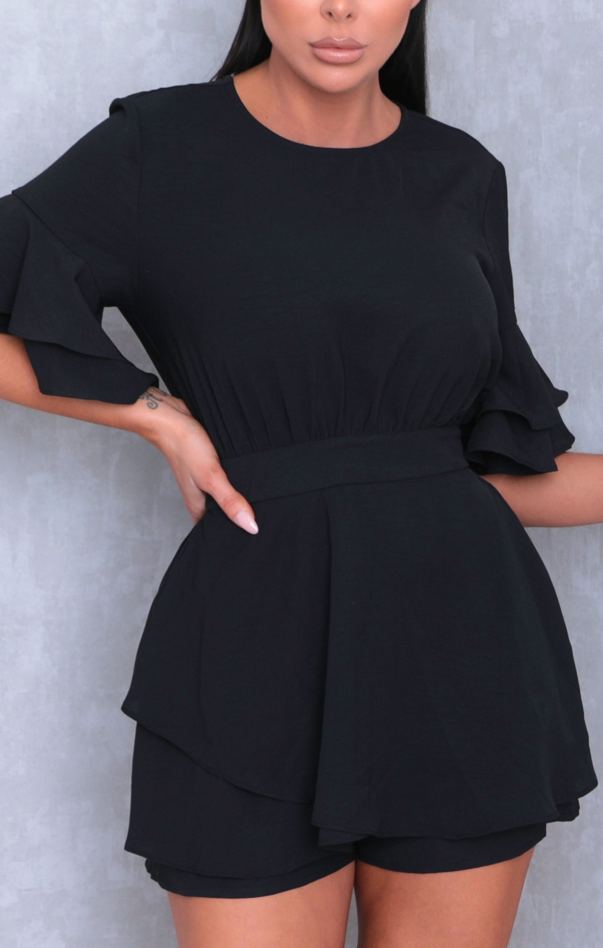 Black Frill Sleeve Open Back Skort Playsuit - Tammy