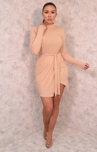 Tan Belted High Neck Ribbed Bodycon Mini Dress - Emmy