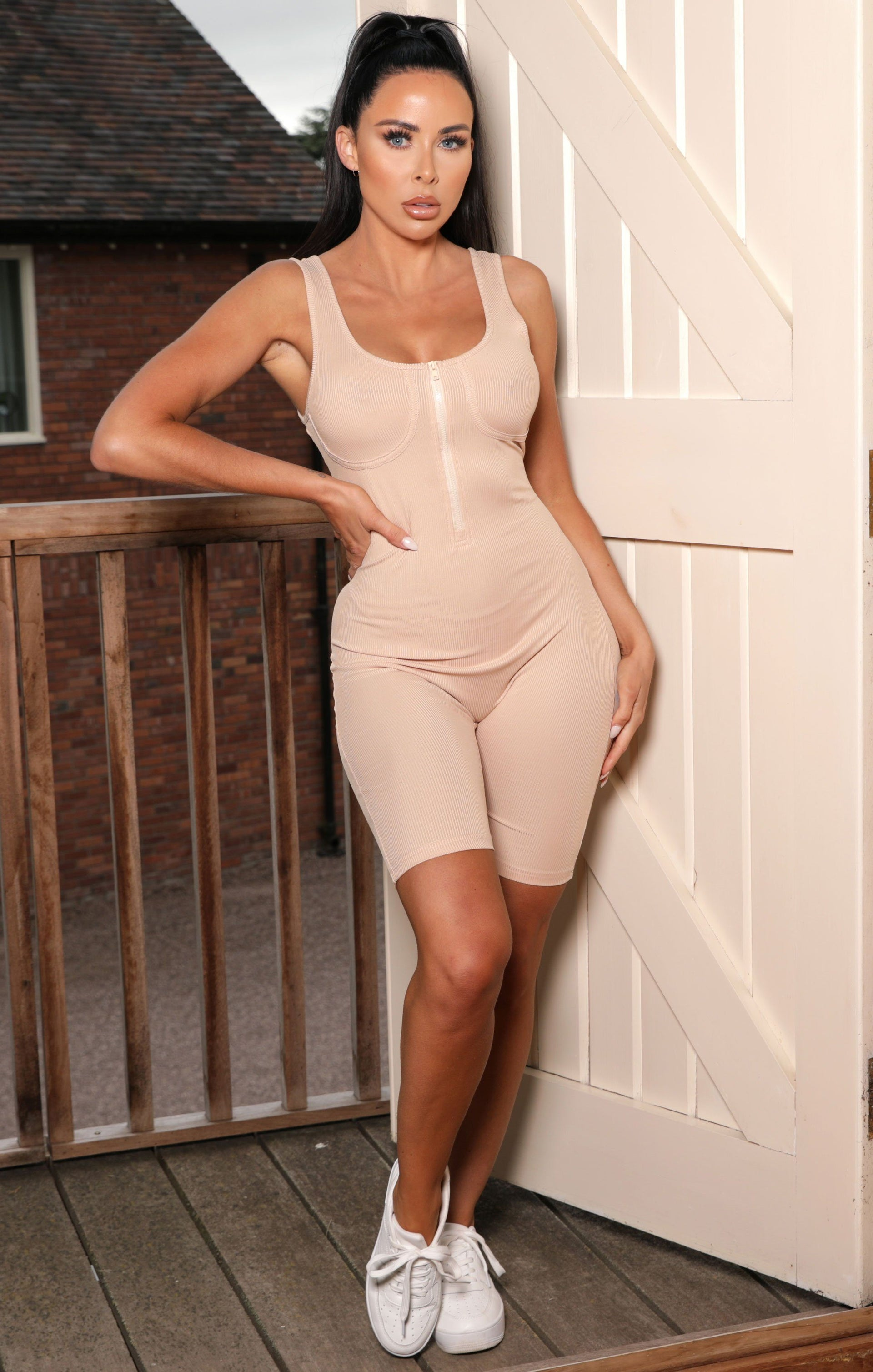 Tan Bust Detail Ribbed Bodycon Playsuit - Magda
