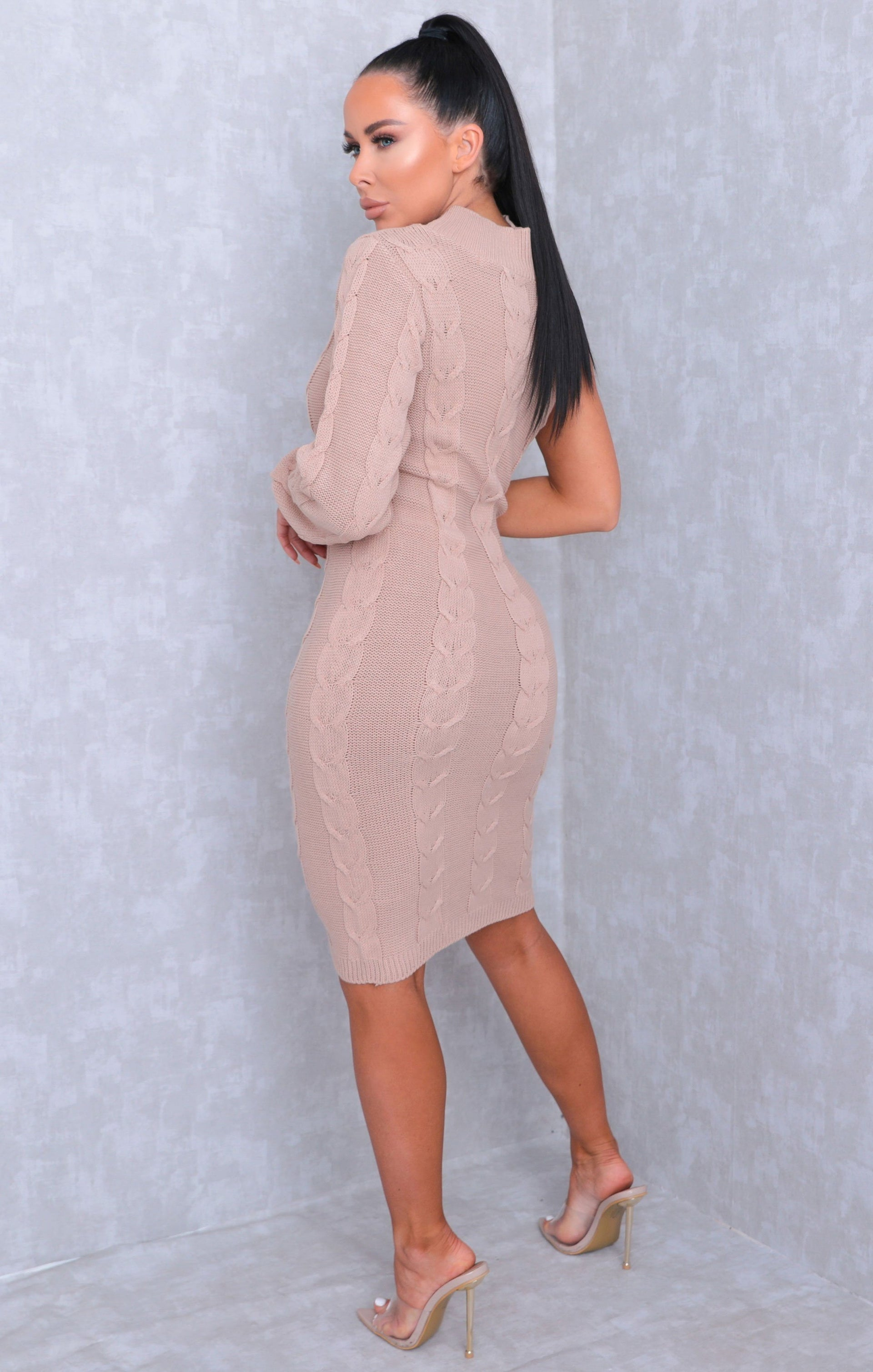 Tan Cable Knit One Shoulder Bodycon Midi Dress - Trudy