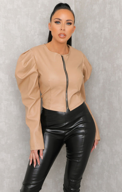 Tan Leather Look Cropped Jacket - Cara