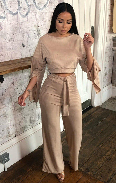 Tan Ribbed Flare Sleeve Loungewear - Neveah