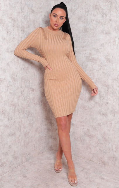 Tan Ribbed High Neck Long Sleeve Bodycon Midi Dress - Tina
