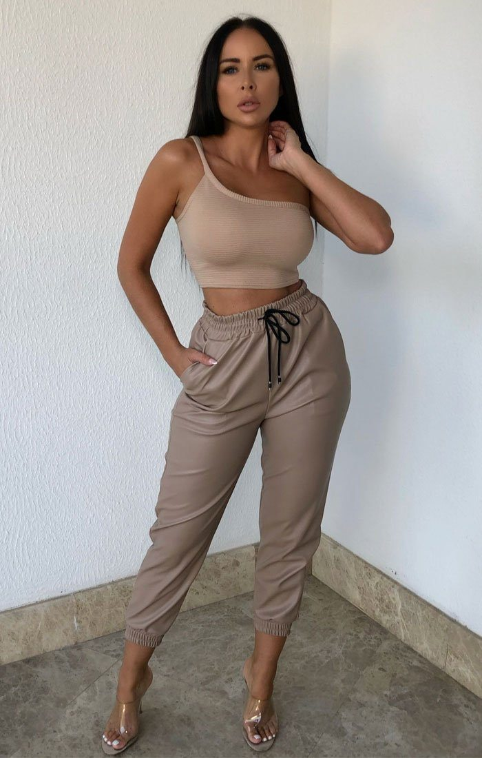 Tan Ribbed One Shoulder Crop Top - Daisy