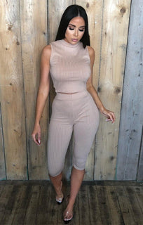 Tan Ribbed Sleeveless Loungewear Set - Bonnie