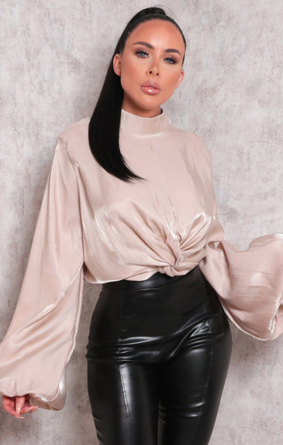 Tan Satin Balloon Sleeve Twist Front Top - Kim
