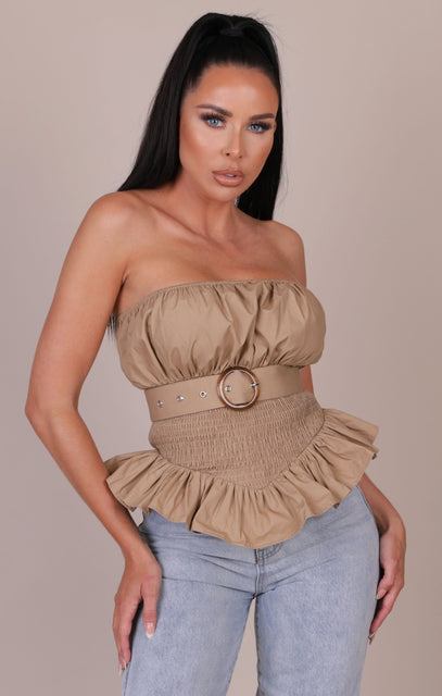 Tan Sheared Belted Frill Strapless Top - Shelly