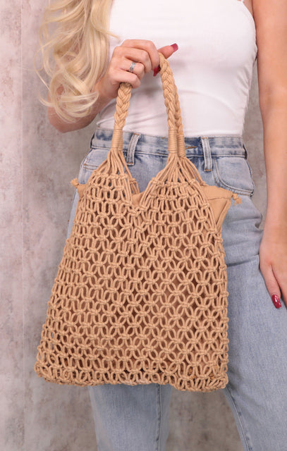 Tan String Tote Bag - Haley