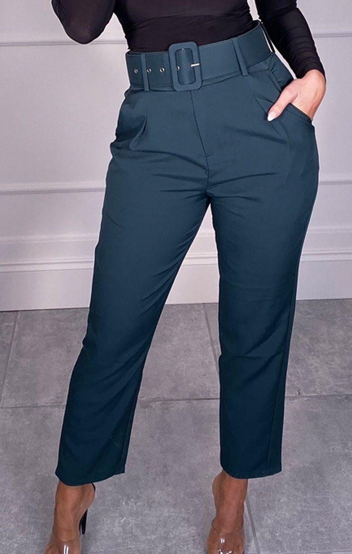 Teal Belted Tapered Trousers - Amber