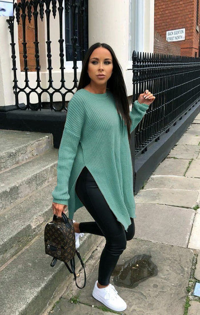 Teal Oversized Split Side Knitted Jumper - Lore