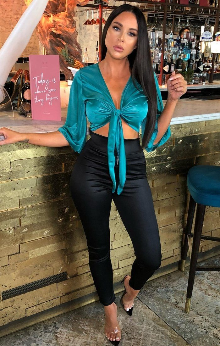 Teal Satin Front Tie Top - Josie