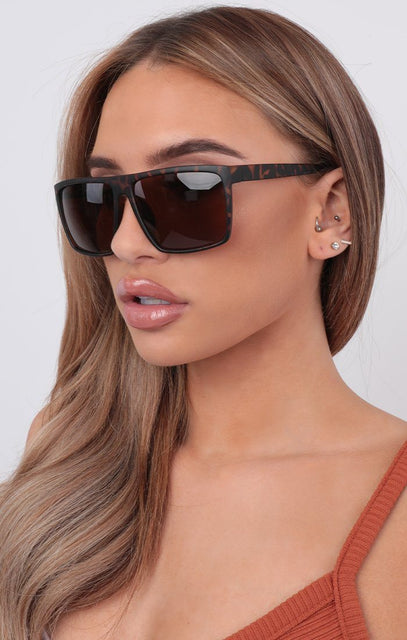 Tortoise Shell Oversized Square Sunglasses - Ada