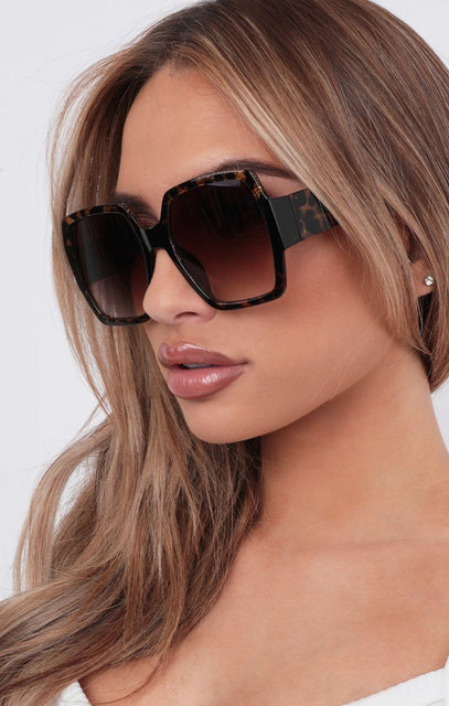 Tortoise Shell Oversized Square Sunglasses - Leila