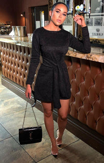 Charcoal Knit Tie Long Sleeve Dress - Vivienne