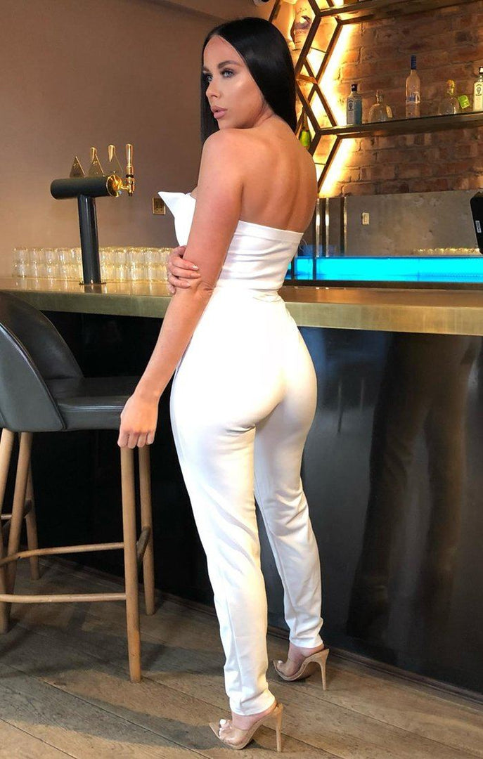 White Sweetheart Neck Jumpsuit - Mila
