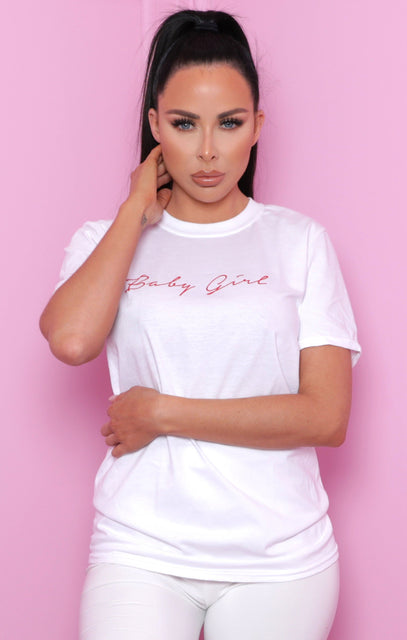 White 'Baby Girl' Slogan Print Crew Neck T-Shirt - Bria
