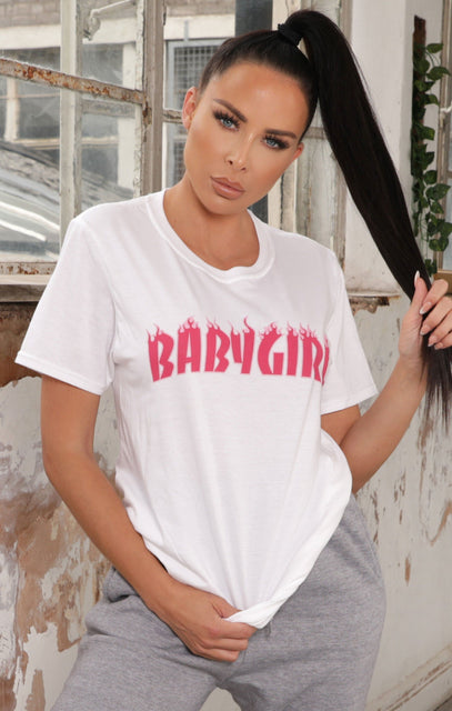 White 'Baby Girl' Slogan Print Oversized T-Shirt - Ellie