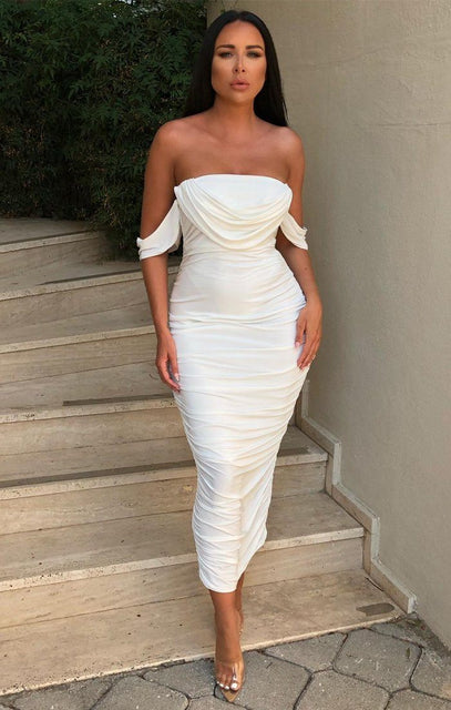 White Bardot Cowl Neck Ruched Midi Dress - Malia