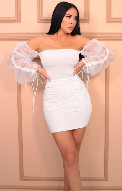 White Bardot Mesh Sleeve Cross Back Bodycon Mini Dress - Fleur