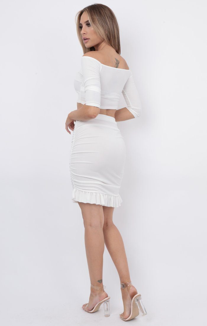 White Bardot Ruched Midi Skirt Co-ord - Layla