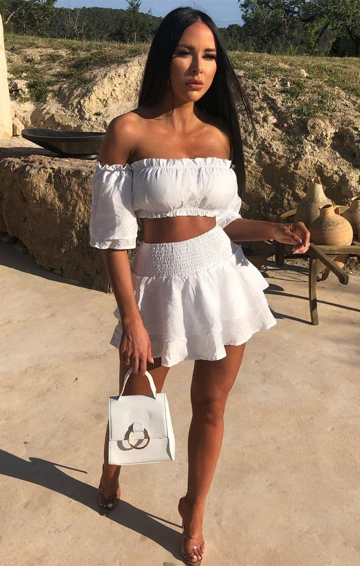 White Bardot Ruched Skirt Co-Ord - Aniyah