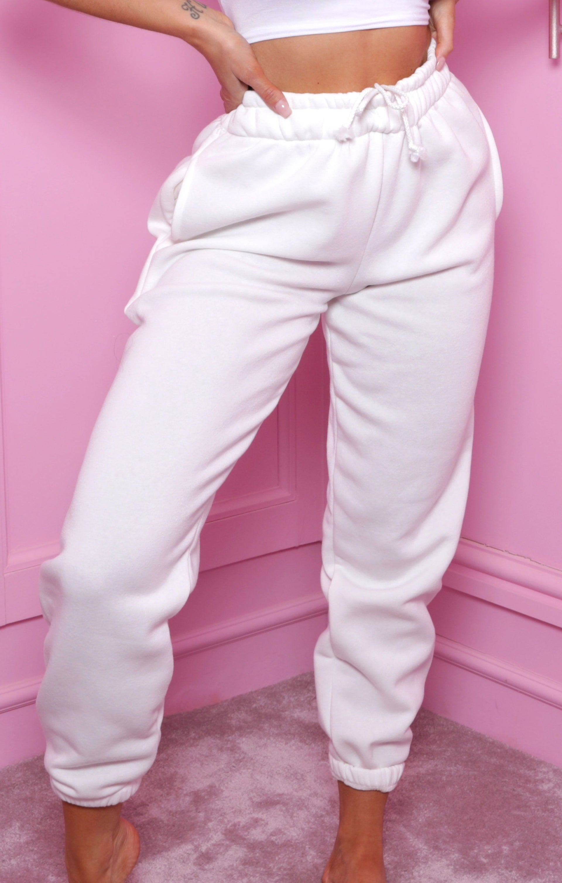 White Basic Soft Touch Cuffed Joggers - Danielle