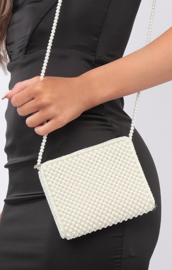 White Beaded Cross Body Bag - Heaven