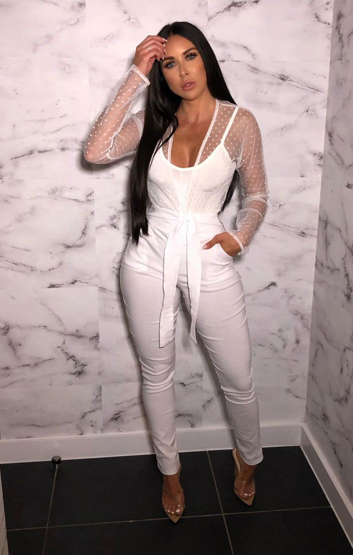 White Belted Slim Leg Trousers - Amirah