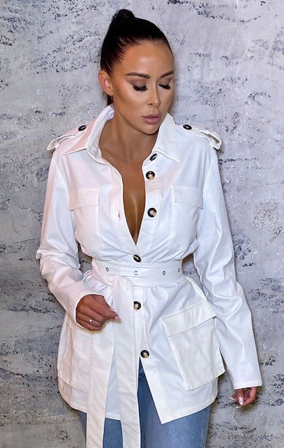 White Belted Utility Collar Jacket - Alain