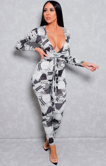 White & Black Slinky Newspaper Print Plunge Jumpsuit - Lucia