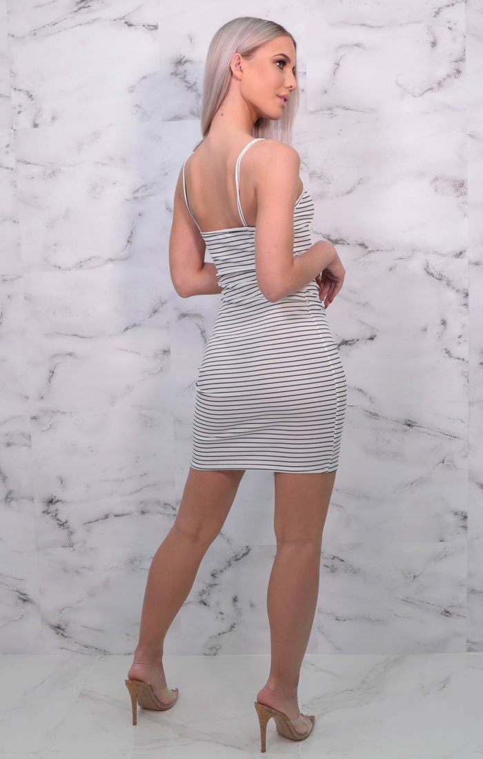 White & Black Stripe Strappy Bodycon Mini Dress - Elle