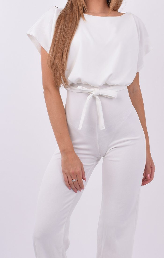 White Boxy Fit Jumpsuit - Juliette