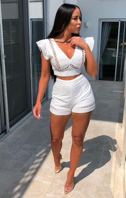 White Broderie Shorts Co-Ord - Jayde
