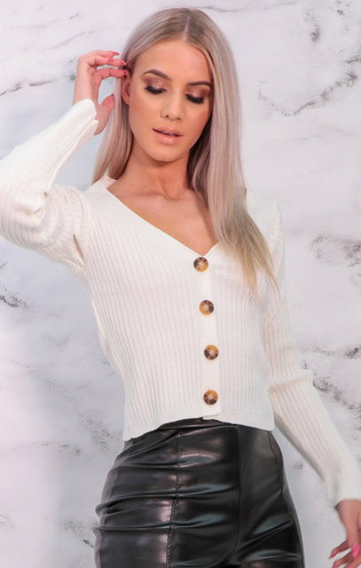 White Button Front Ribbed V-Neck Cardigan - Bethani