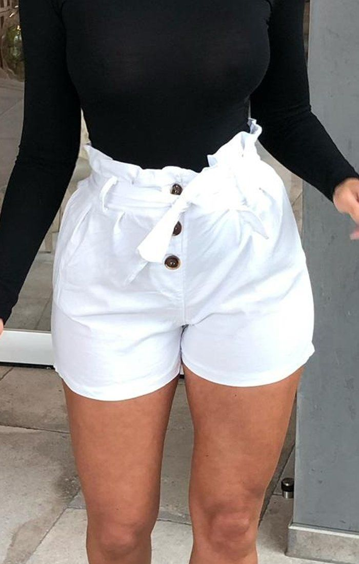 White Button Ruffle Waist Shorts - Lia