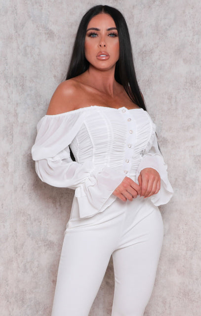 White Button Up Mesh Overlay Bardot Crop Top - Tamara