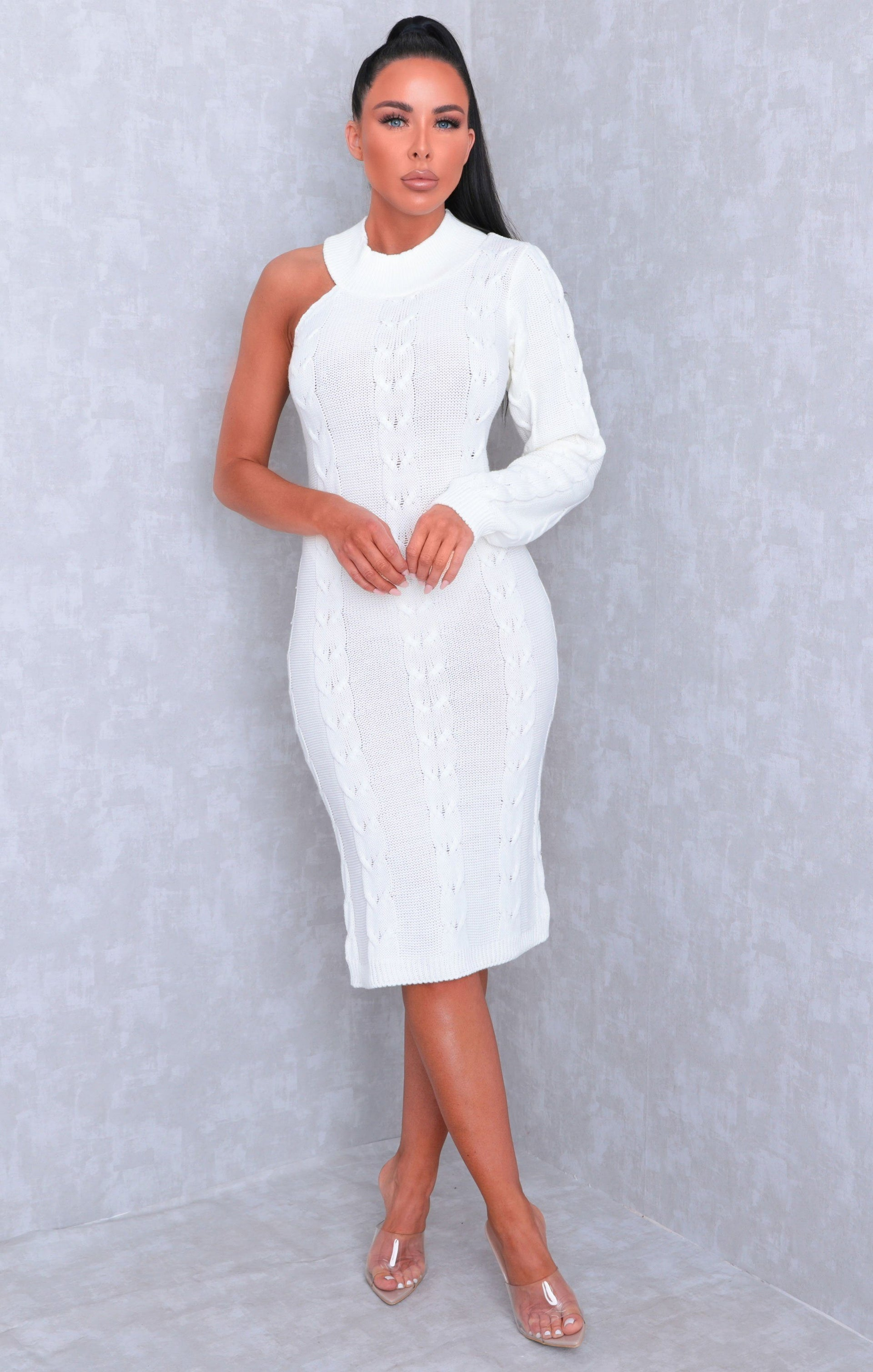 White Cable Knit One Shoulder Bodycon Midi Dress - Trudy