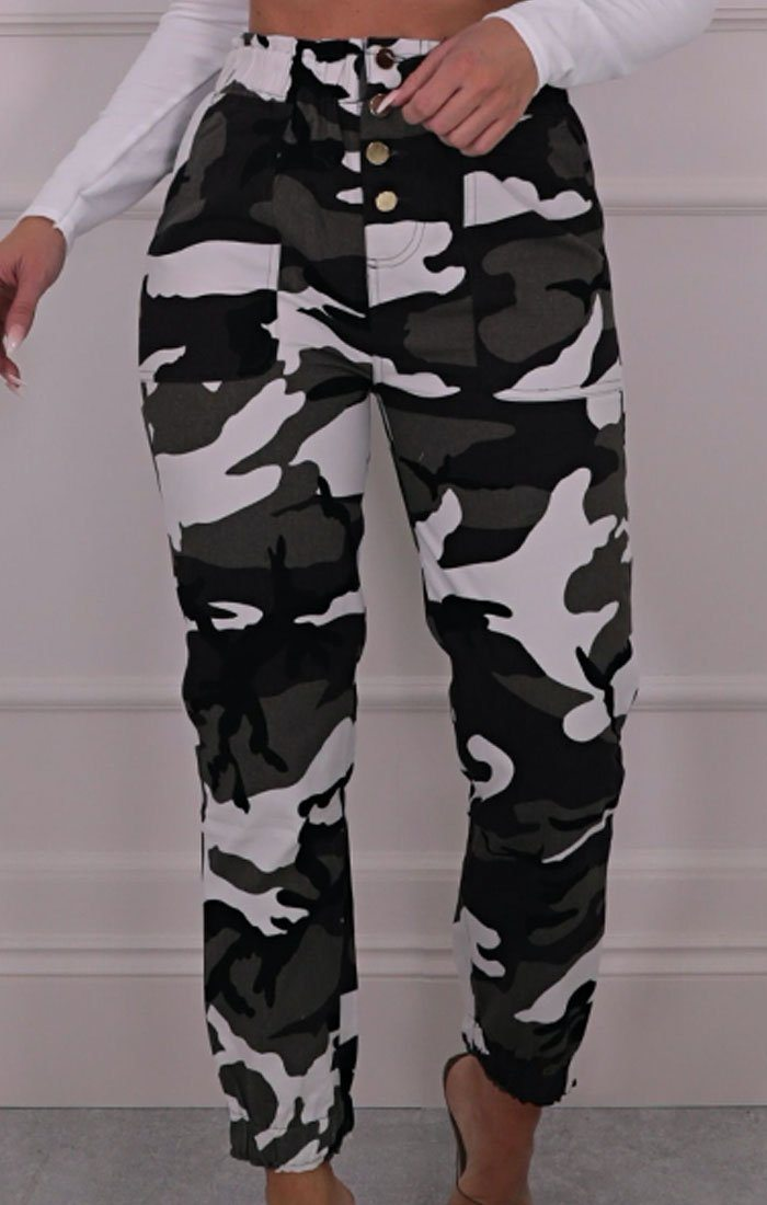 White Camo Print Paperbag Waist Trousers - Evie