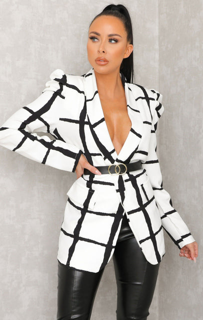 White Check Belted Blazer Jacket - Emiliana