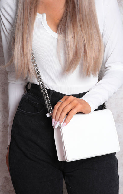 White Chunky Chain Wallet Bag - Merissa