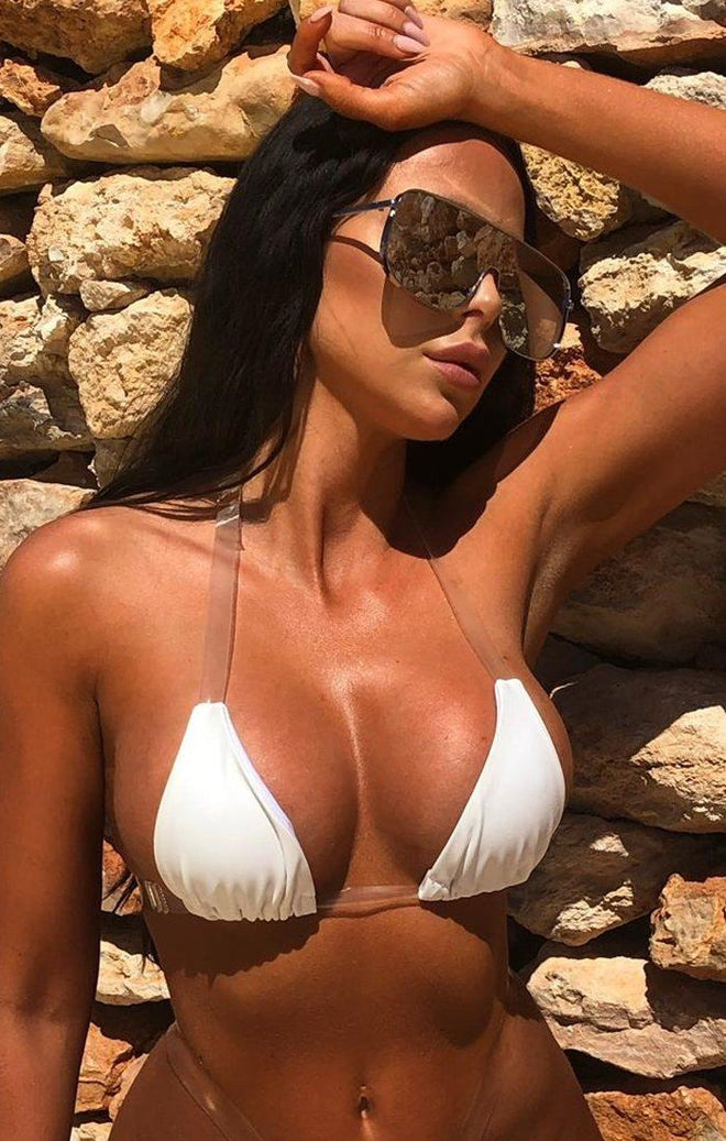 White Clear Strap Micro Bikini Top - Ashley