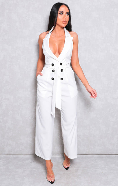 White Collar Wide Leg Double Breasted Jumpsuit - Yasmin
