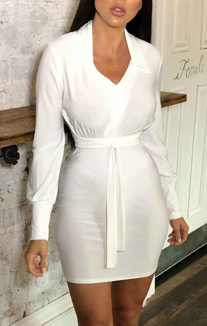White Collared Long Sleeve Slinky Dress - Kendra