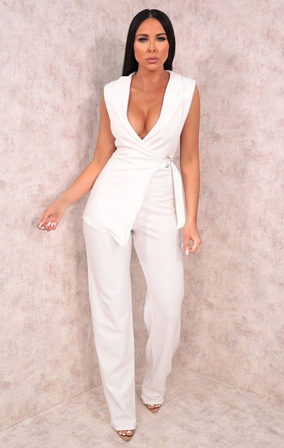 White Collared Wrap Jumpsuit - Jazlyn