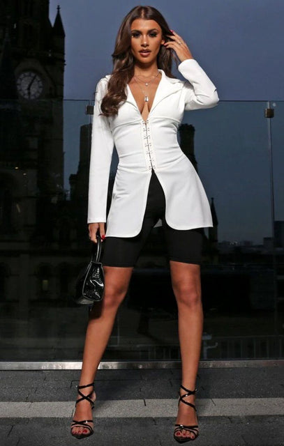 White Corset Collar Blazer Jacket - Gwen